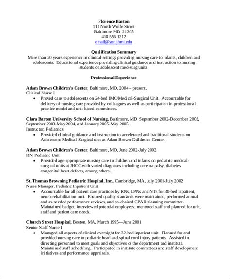 Experienced Nursing Resume by Sle Nursing Resume 10 Exles In Word Pdf