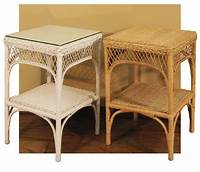 rattan end tables Wicker Lattice End Table with Glass Top
