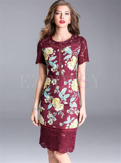 wine red embroidered splicing bodycon dress