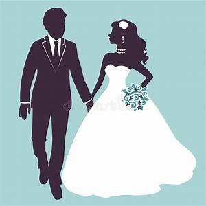 Elegant Wedding Couple In Silhouette Stock Vector ...