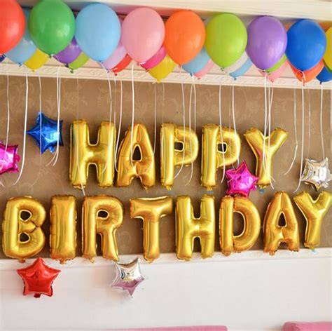 Balloons can be the decorations or even be birthday cards. 16'' Gold HAPPY BIRTHDAY Foil Balloons - JacqsCraftyCorner