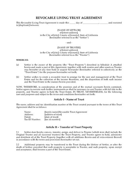living trust forms oklahoma california revocable living trust agreement legal forms
