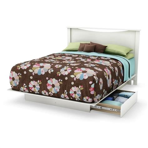 south shore maddox full queen platform storage bed in pure