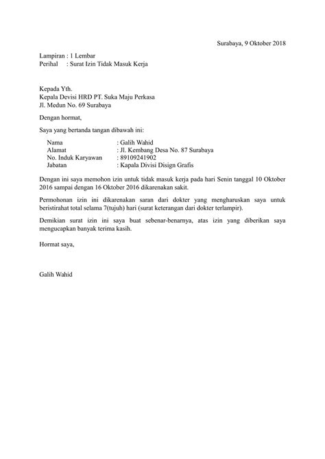 Contoh Surat Izin Tidak Masuk Kerja Pns by Contoh Surat Izin Tidak Masuk Kerja Yang Baik Dan