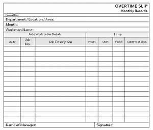 Overtime slip form for Overtime log template