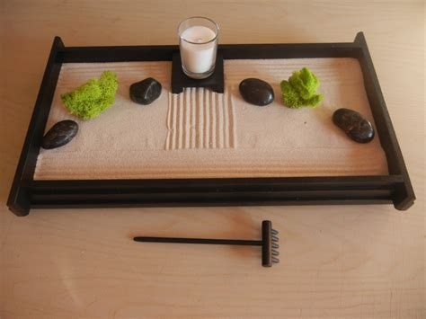 L02 Large Desk Or Table Top Zen Garden With Glass Candle And