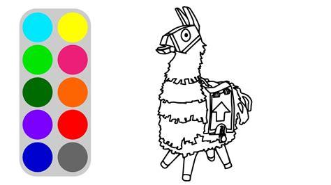 llama coloring book  kids   draw fortnite easy