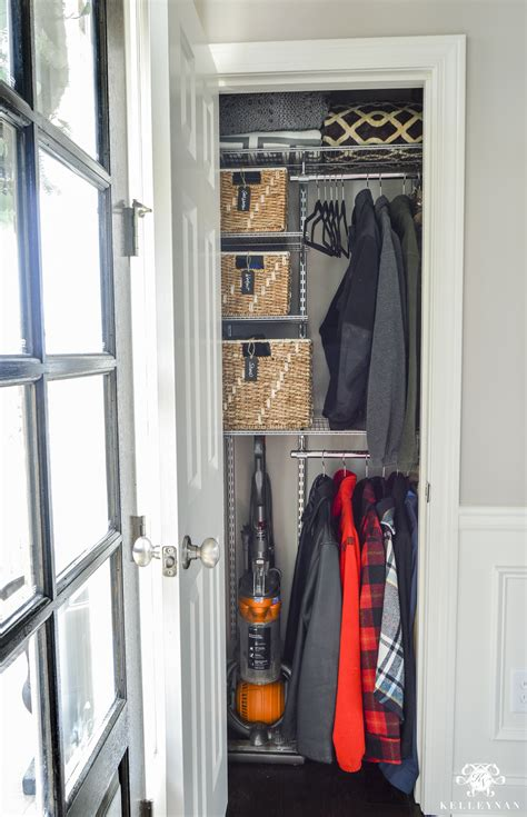Standing Coat Closet by Organized Foyer Coat Closet Before And After Makeover