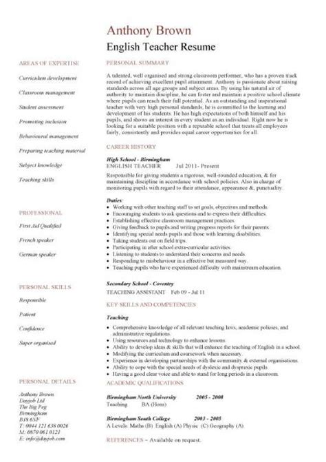 Esl Duties Resume by Resume Template Cv Exles Teaching
