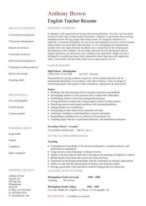 resume template cv exles teaching