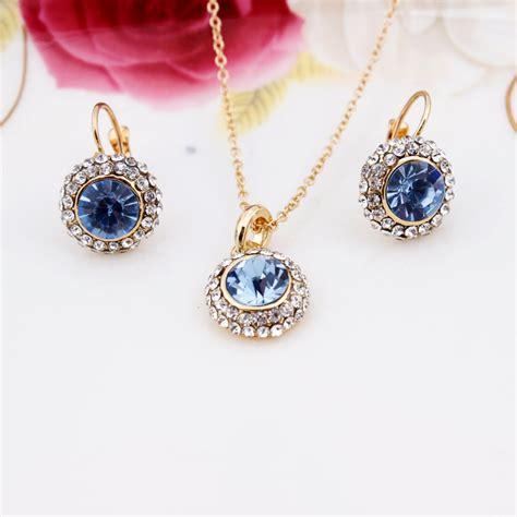 Austrian Crystal Earrings Necklace Jewelry Set 18k Gold