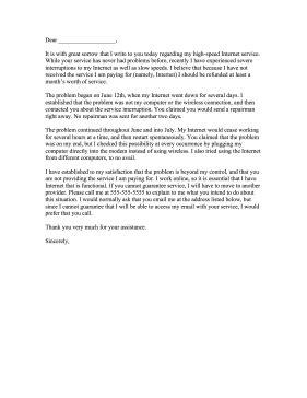 complaint letter  internet provider