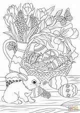 Coloring Easter Bunny Basket Flowers Eggs Adult Pastry Printable Spring Adults Lunch Colouring Decorated Supercoloring Sheets Drawing Tegninger Halloween Påske sketch template