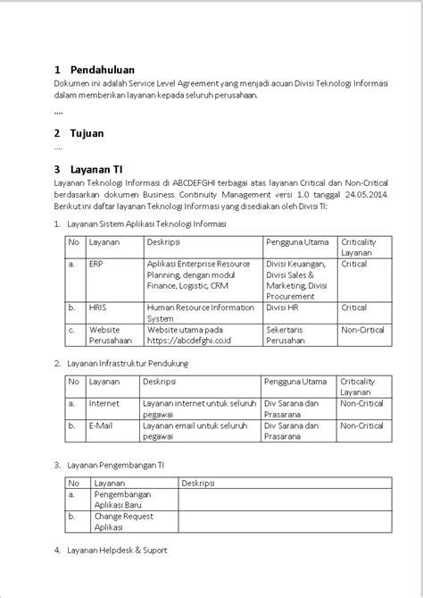 contoh dokumen service level agreement sla sharingvision