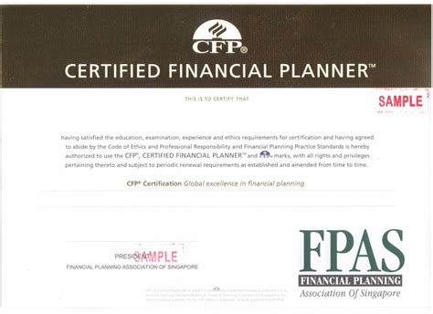 photograph of financial planner certification