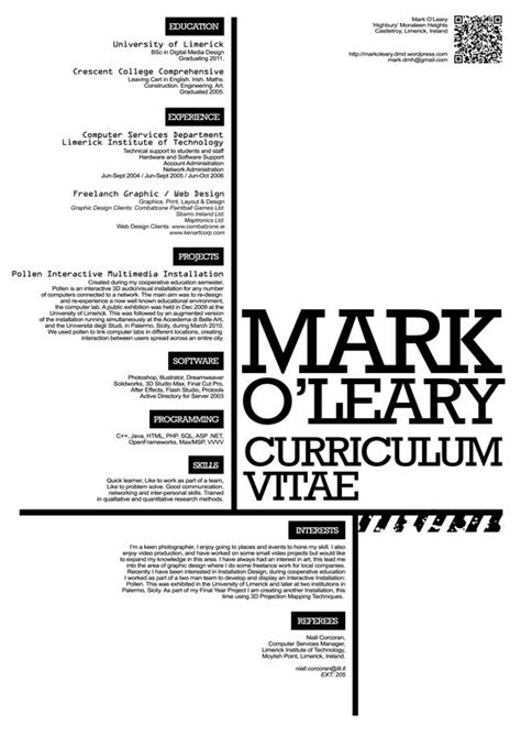 creative bold resume curriculum vitae design typography graphics and cv design