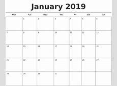 2019 Calendar Template printable month calendar