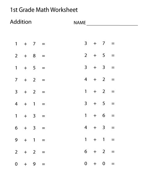 easy math worksheets 1st grade learning printable math