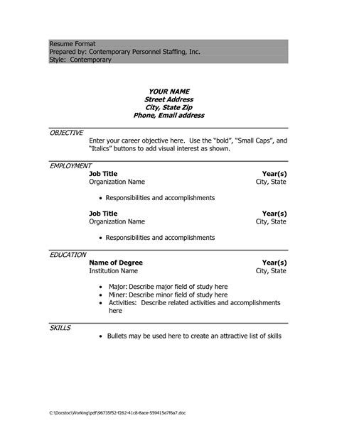 Resume Format Exles For by Resume Sle Doc Free Excel Templates