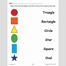 4 Free Shapes Matching Worksheets For Preschool & Kindergarten Supplyme