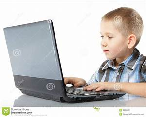 Computer Addiction Child With Laptop Notebook Royalty Free ...