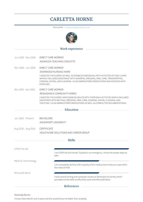 direct care worker resume samples templates visualcv