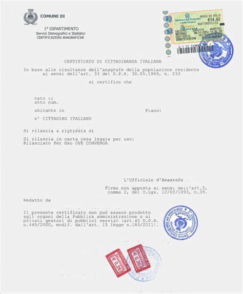 certificato  cittadinanza cittadinanza italiana