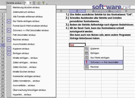 kontextmenue editor addin fuer excel  windows