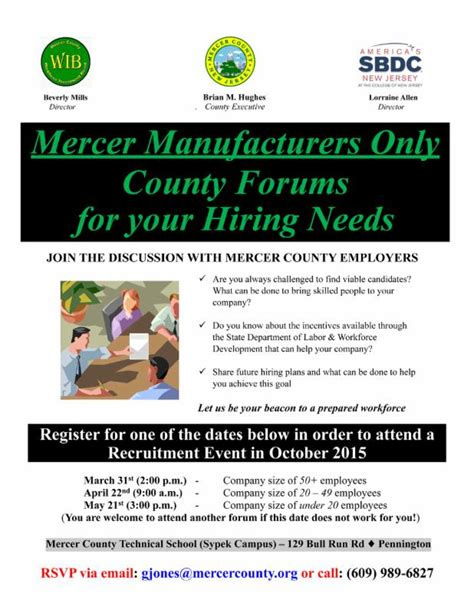 Mercer Manufacturers: Attend One of Our Upcoming County ...