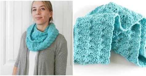 shell stitch crochet infinity scarf  red heart super