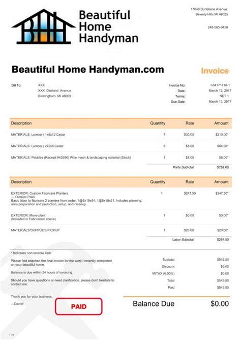 handyman invoice templates   ms word excel
