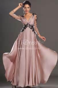 robe de mariã e pour femme de 50 ans sleeve black lace appliqued v neck pink chiffon evening dress idress