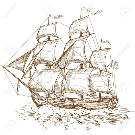 Drawn Sailing Ship Vintage Pencil And In Color Drawn