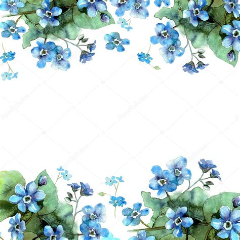 cute watercolor flower border background  blue