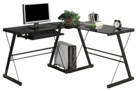 Glass And Metal Corner Computer Desk Black by Black Metal L Shaped Corner Computer Desk With Glass Top