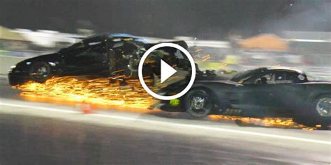 blown chevy corvette  turbo mustang destroyed   drag
