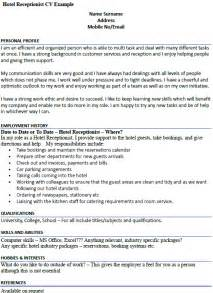 Hotel Front Desk Receptionist Resume by Hotel Receptionist Cv Example Icover Org Uk