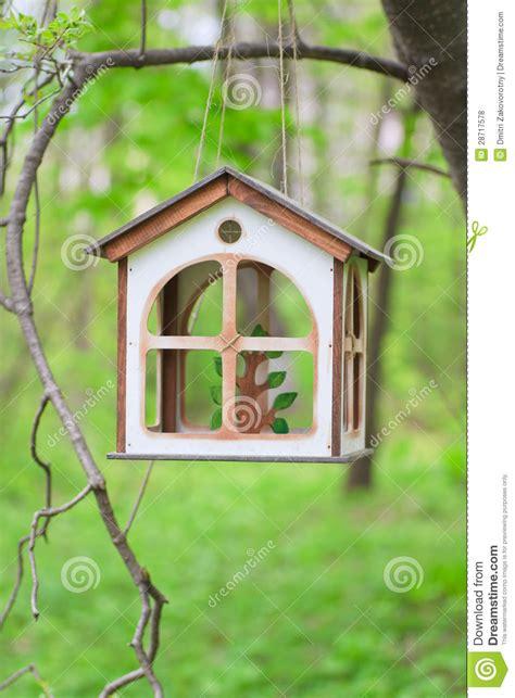 homemade wooden bird feeder stock photo image  plan rental