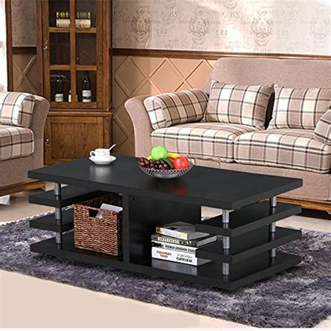 yaheetech modern black wood coffee table multi tier design