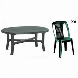 Table De Jardin Ovale : table ovale verte 6 chaises jardin plastique vert ~ Dailycaller-alerts.com Idées de Décoration