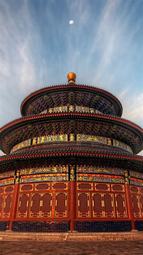wallpaper  temple  heaven china sky clouds sunset
