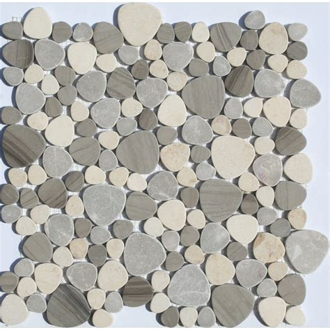 pebble mosaic tile faber 13 in x 13 in sand dune pebbles blends mosaic wall tile lowe s canada