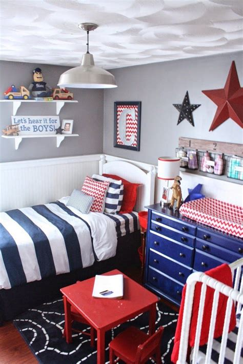 red white blue boys room   shared boys rooms
