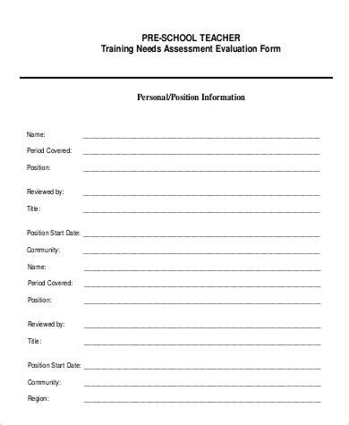 preschool teacher evaluation form 8 sample self evaluation forms sample templates 865