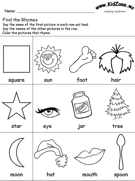 rhyming color sheets  kindergarten reading readiness