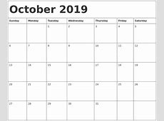 October 2019 Printable Calendar – printable weekly calendar
