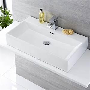 Lavabo Bagno Sospeso In Ceramica Rettangolare 750x420mm