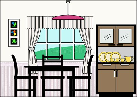 Dining Room Clipart Images by Dining Room With Furniture And Fittings Royalty Free Stock