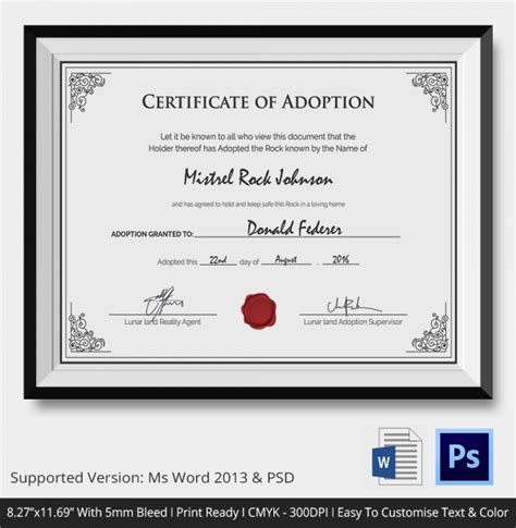 Blank Adoption Certificate Template by 19 Sle Adoption Certificates Sle Templates