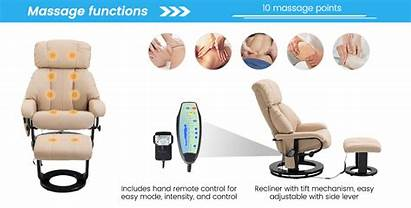 Aosom Swivel Recliner Homcom Pu Massage Chair